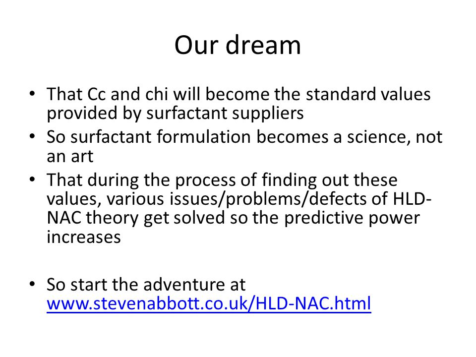 Our dream That Cc and chi will become the standard values provided by surfactant suppliers. So surfactant formulation becomes a science, not an art.