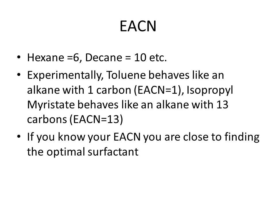 EACN Hexane =6, Decane = 10 etc.