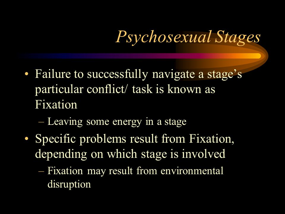 Psychosexual Stages Failure to successfully navigate a stage's particular conflict/ task is known as Fixation.