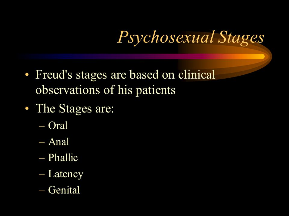 Psychosexual Stages Freud s stages are based on clinical observations of his patients. The Stages are: