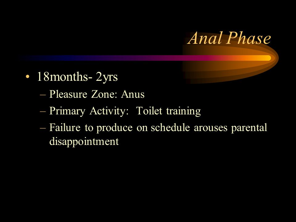 Anal Phase 18months- 2yrs Pleasure Zone: Anus