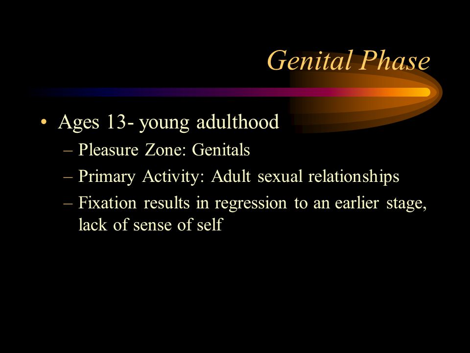 Genital Phase Ages 13- young adulthood Pleasure Zone: Genitals