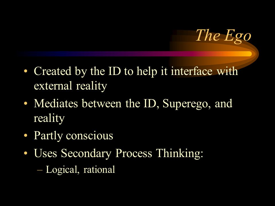 The Ego Created by the ID to help it interface with external reality