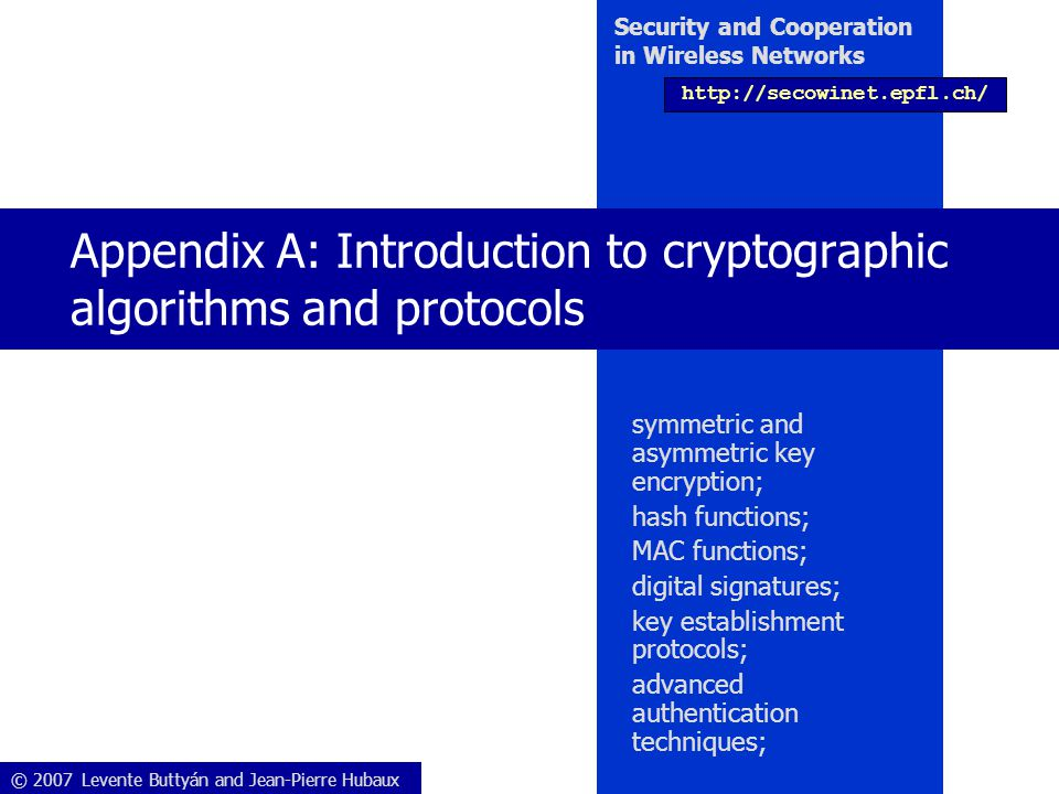 Appendix A: Introduction to cryptographic algorithms and protocols