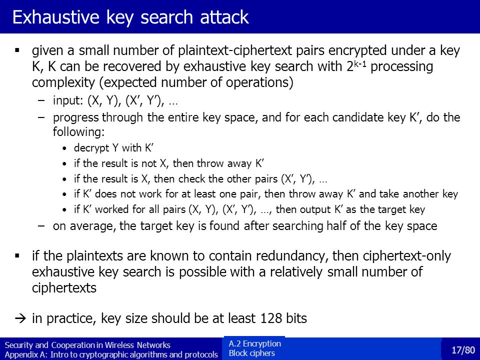 Exhaustive key search attack