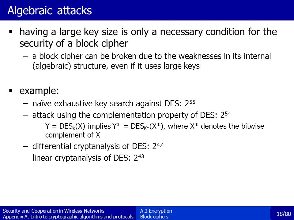 Algebraic attacks having a large key size is only a necessary condition for the security of a block cipher.
