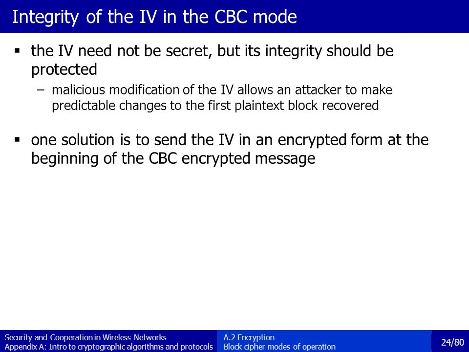 Integrity of the IV in the CBC mode