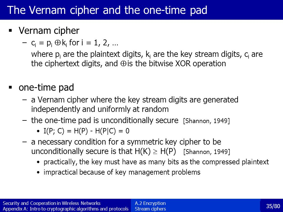 The Vernam cipher and the one-time pad