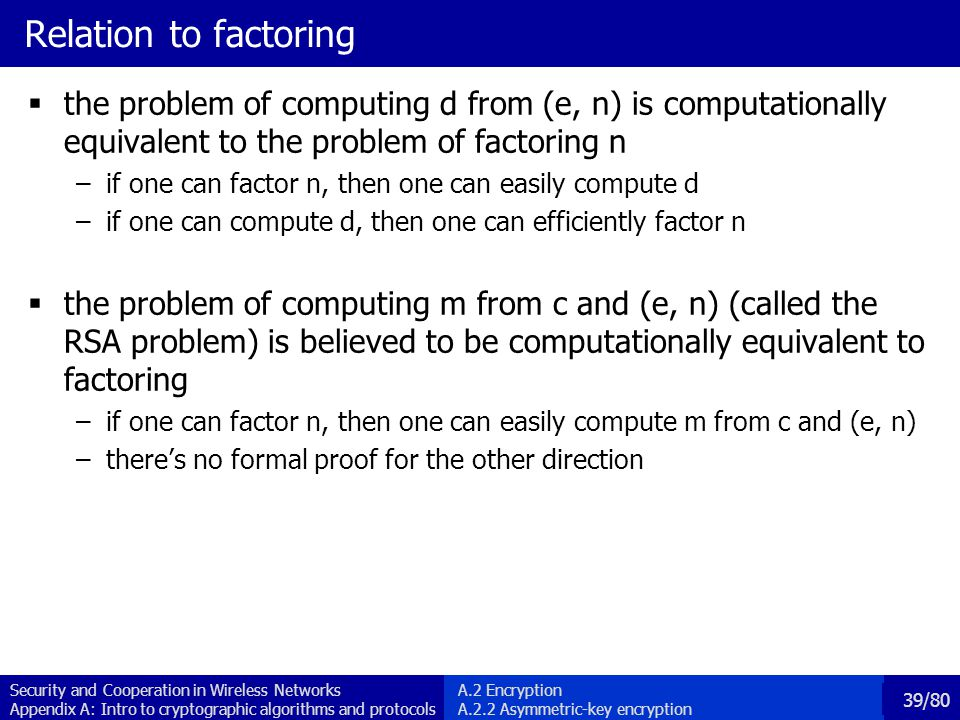 Relation to factoring the problem of computing d from (e, n) is computationally equivalent to the problem of factoring n.