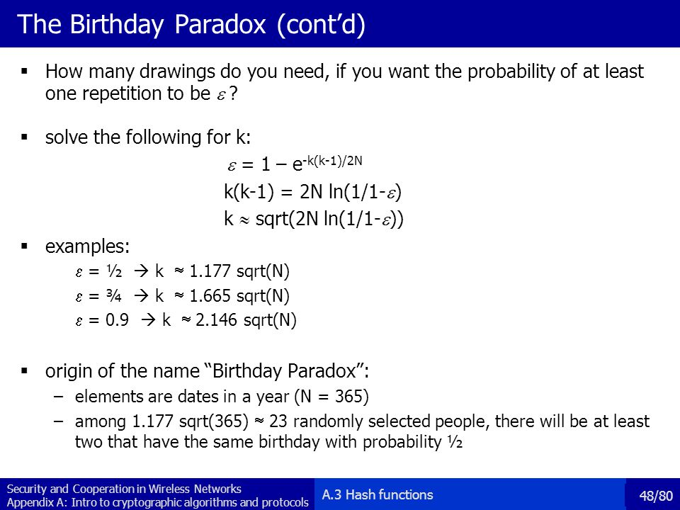 The Birthday Paradox (cont'd)