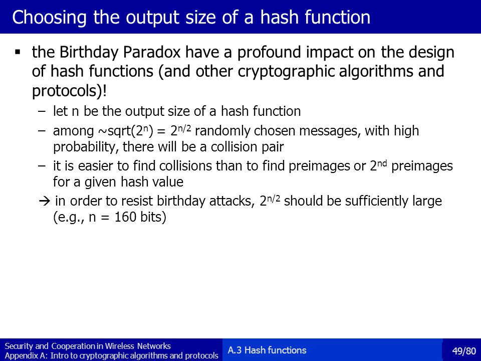 Choosing the output size of a hash function