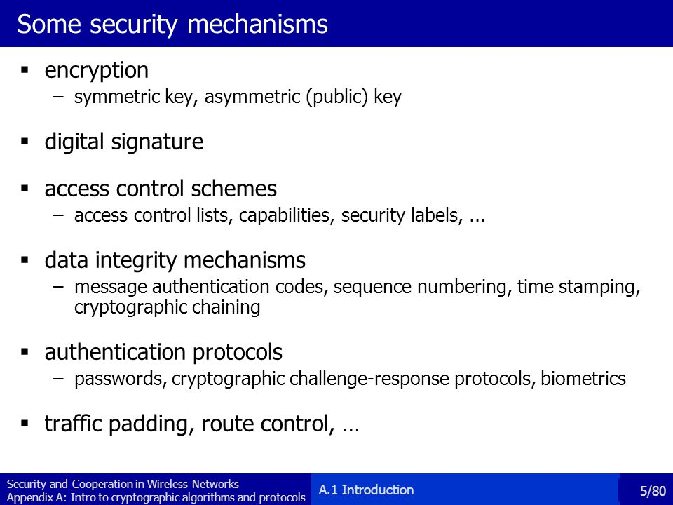 Some security mechanisms