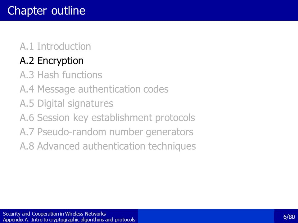 Chapter outline A.1 Introduction A.2 Encryption A.3 Hash functions