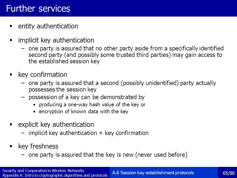 Further services entity authentication implicit key authentication
