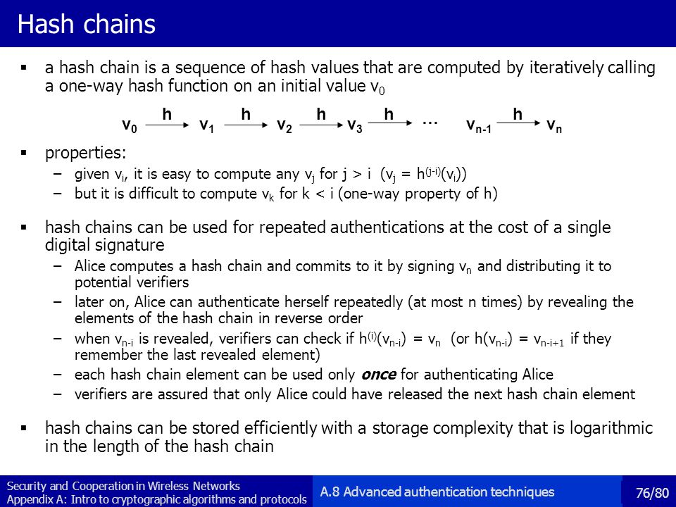 Hash chains a hash chain is a sequence of hash values that are computed by iteratively calling a one-way hash function on an initial value v0.