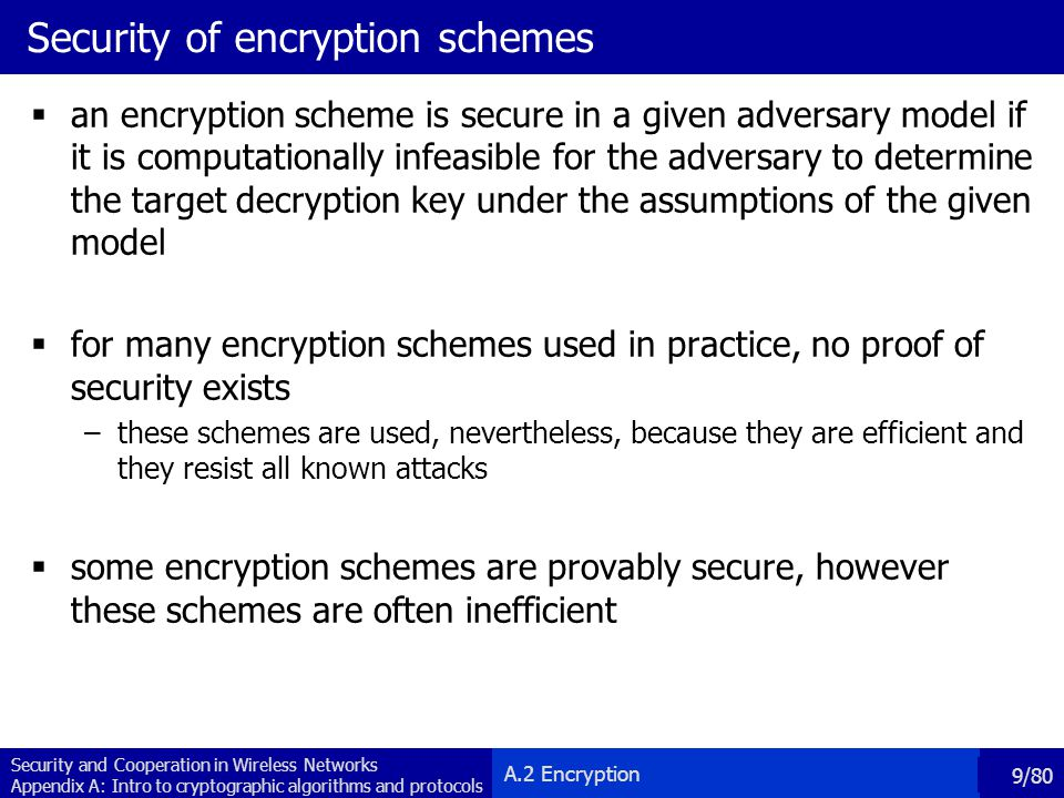 Security of encryption schemes