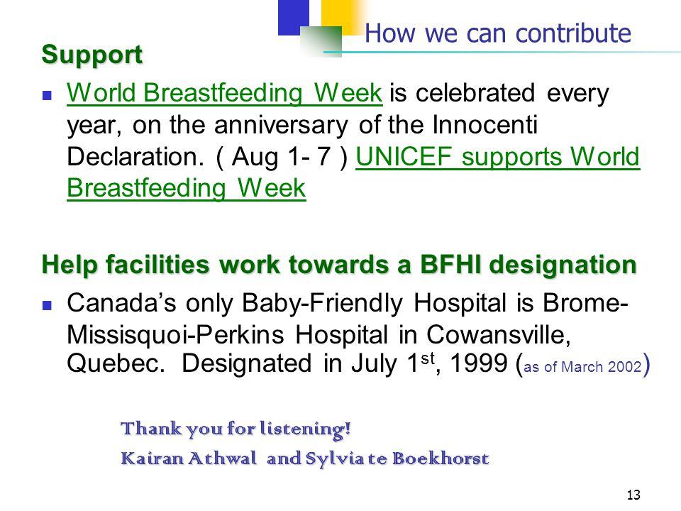 Help facilities work towards a BFHI designation