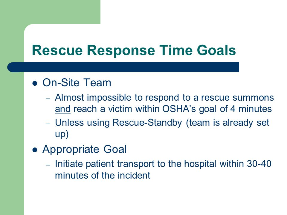 Rescue Response Time Goals