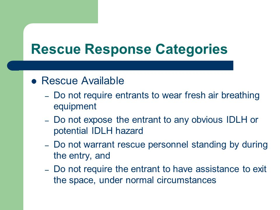 Rescue Response Categories