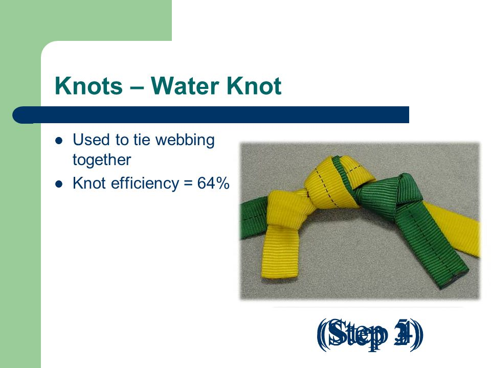 (Step 5) (Step 3) (Step 4) (Step 2) (Step 1) Knots – Water Knot