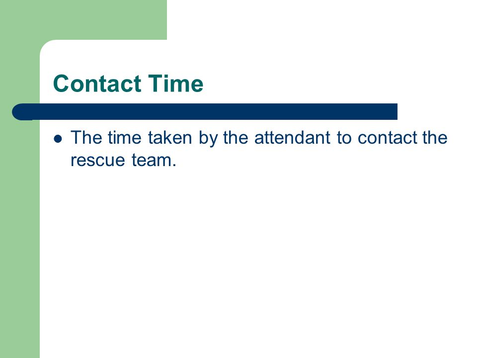 Contact Time The time taken by the attendant to contact the rescue team.