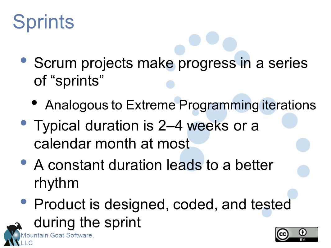 Sprints Scrum projects make progress in a series of sprints