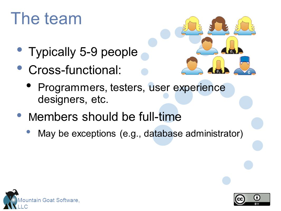 The team Typically 5-9 people Cross-functional:
