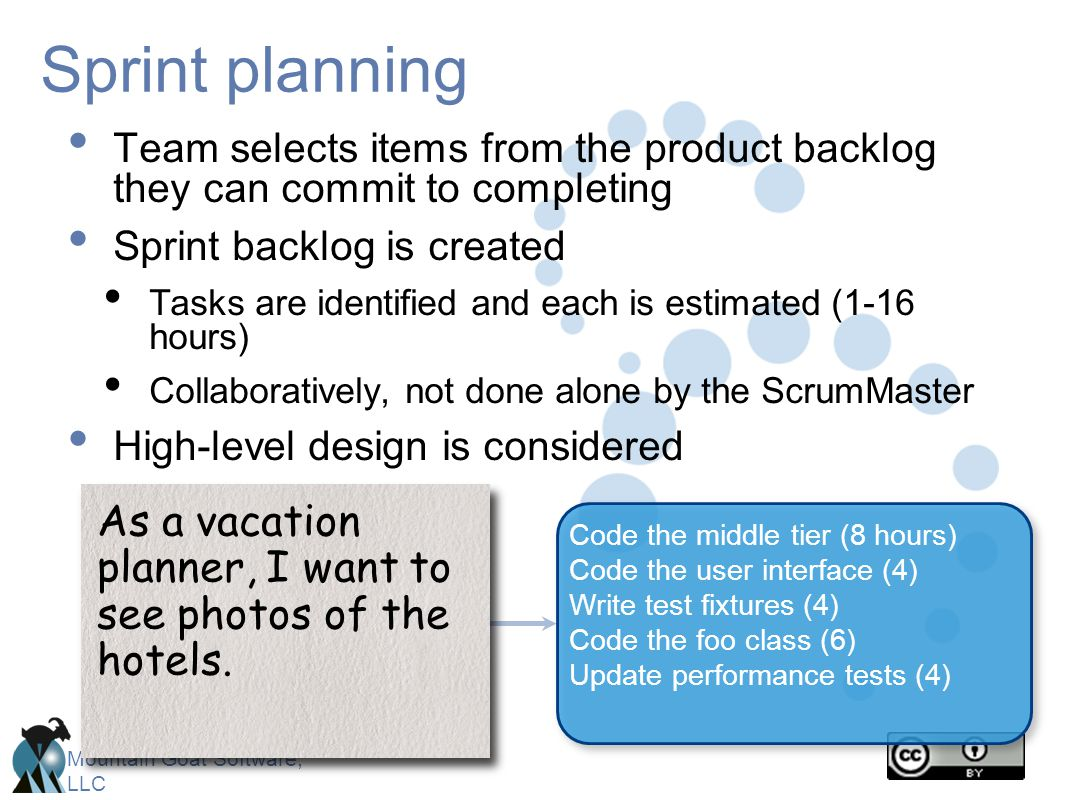 Sprint planning Team selects items from the product backlog they can commit to completing. Sprint backlog is created.