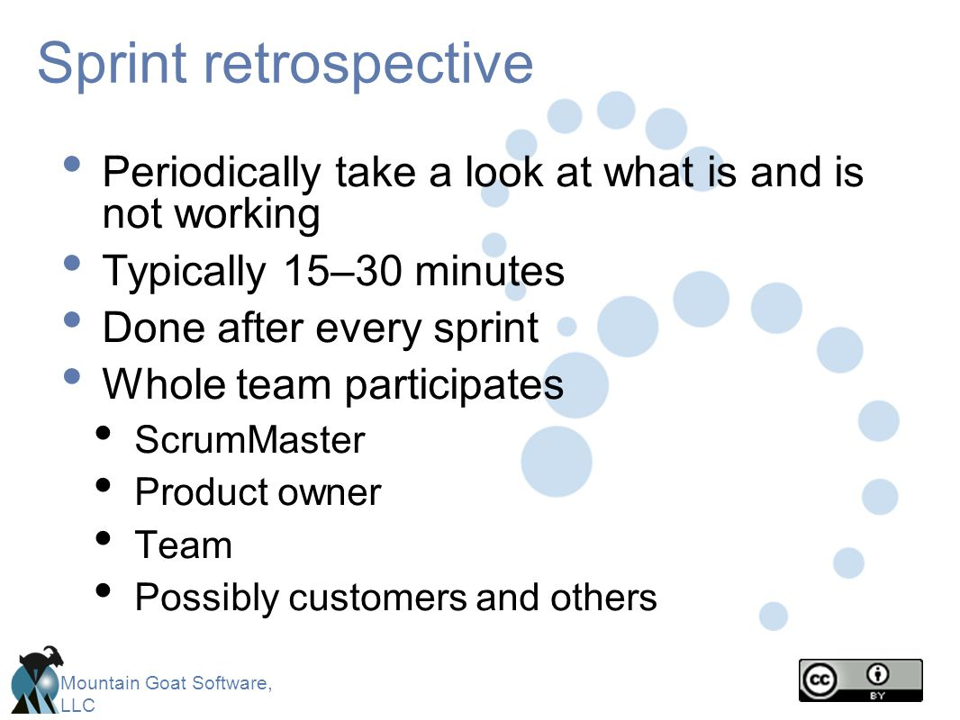 Sprint retrospective Periodically take a look at what is and is not working. Typically 15–30 minutes.