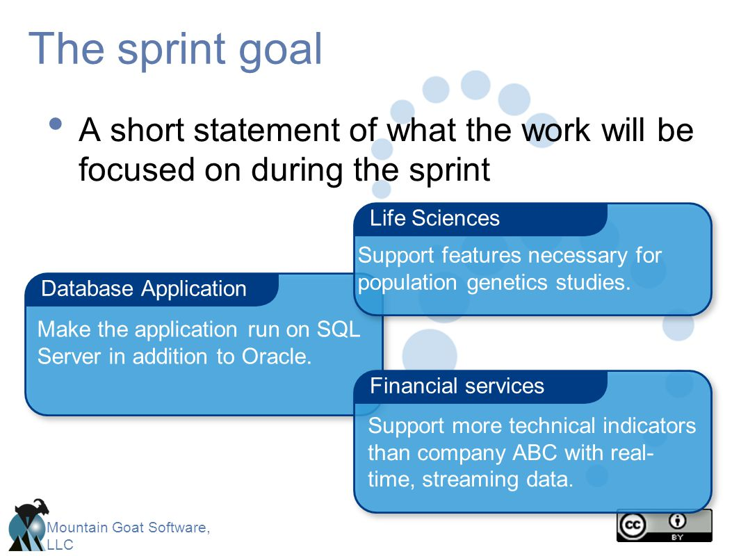 The sprint goal A short statement of what the work will be focused on during the sprint. Life Sciences.
