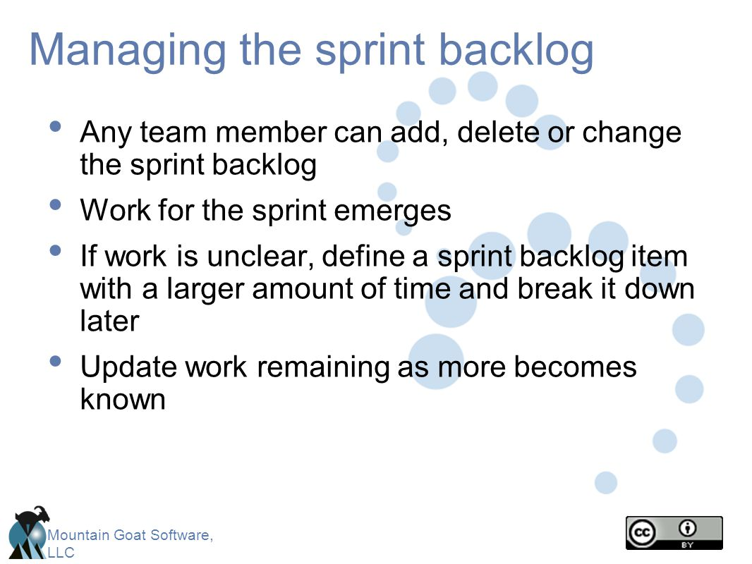 Managing the sprint backlog
