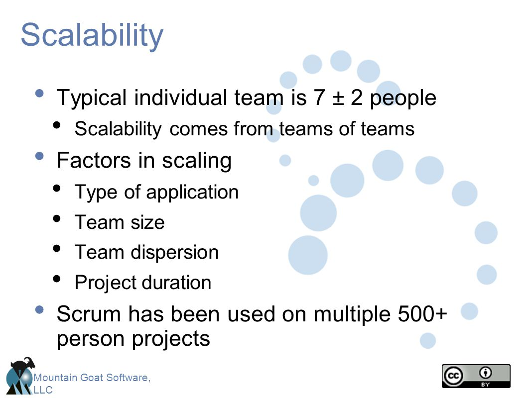 Scalability Typical individual team is 7 ± 2 people Factors in scaling