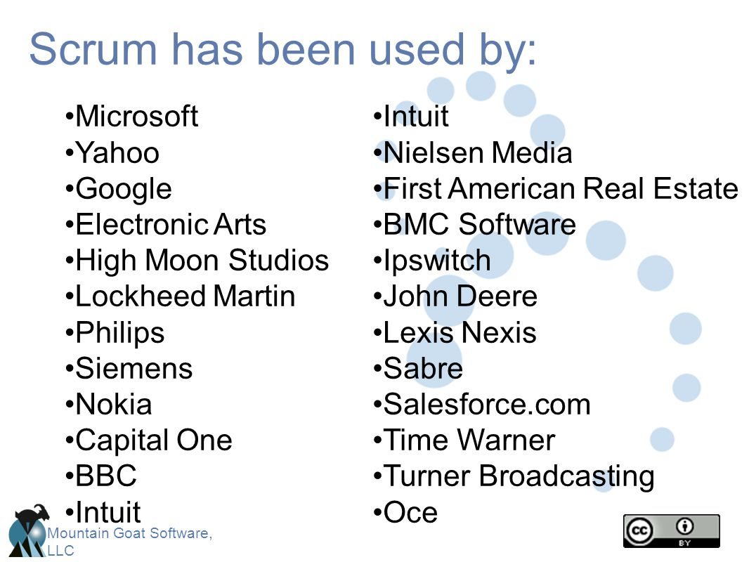 Scrum has been used by: Microsoft Yahoo Google Electronic Arts