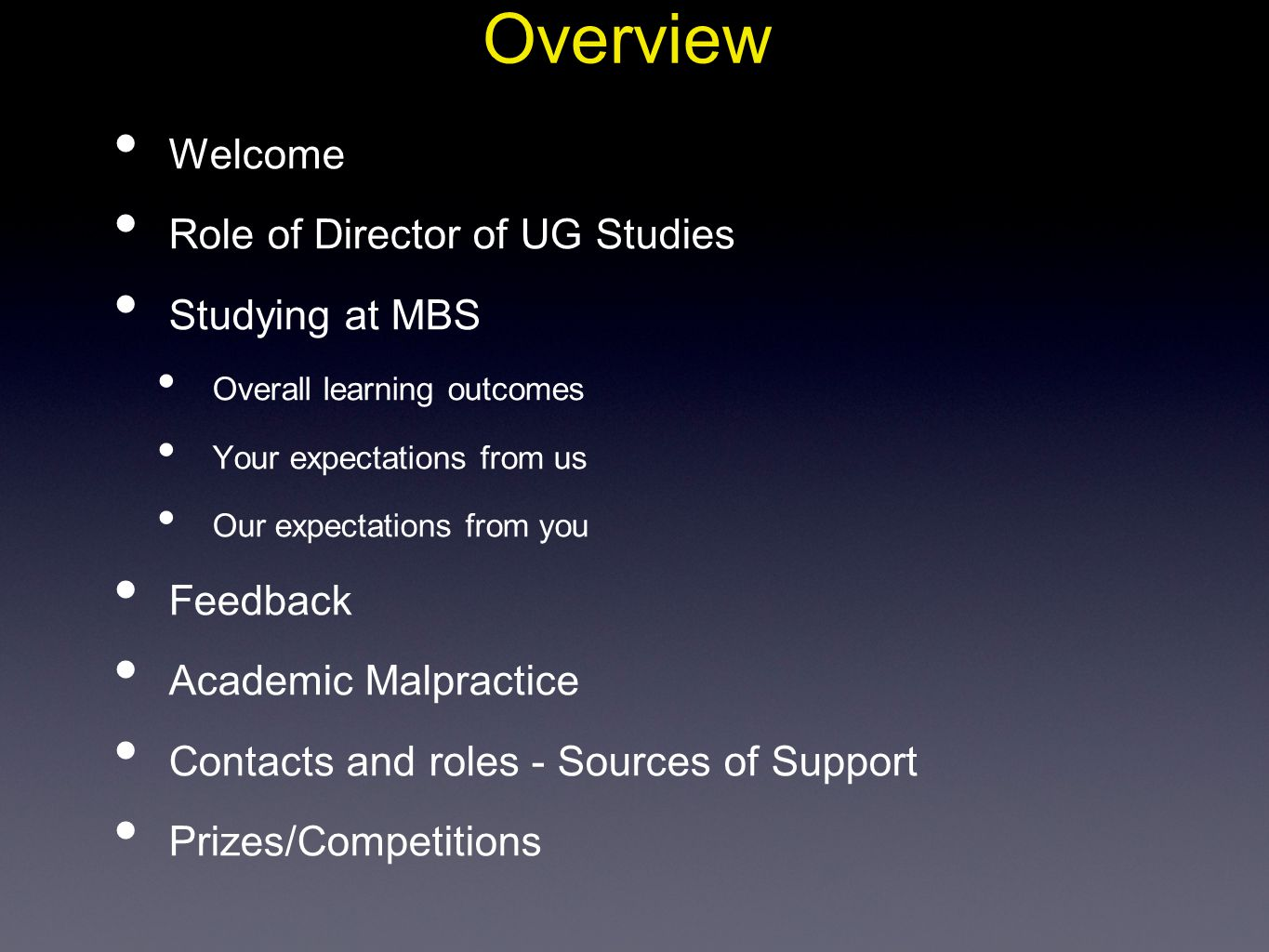 Overview Welcome Role of Director of UG Studies Studying at MBS