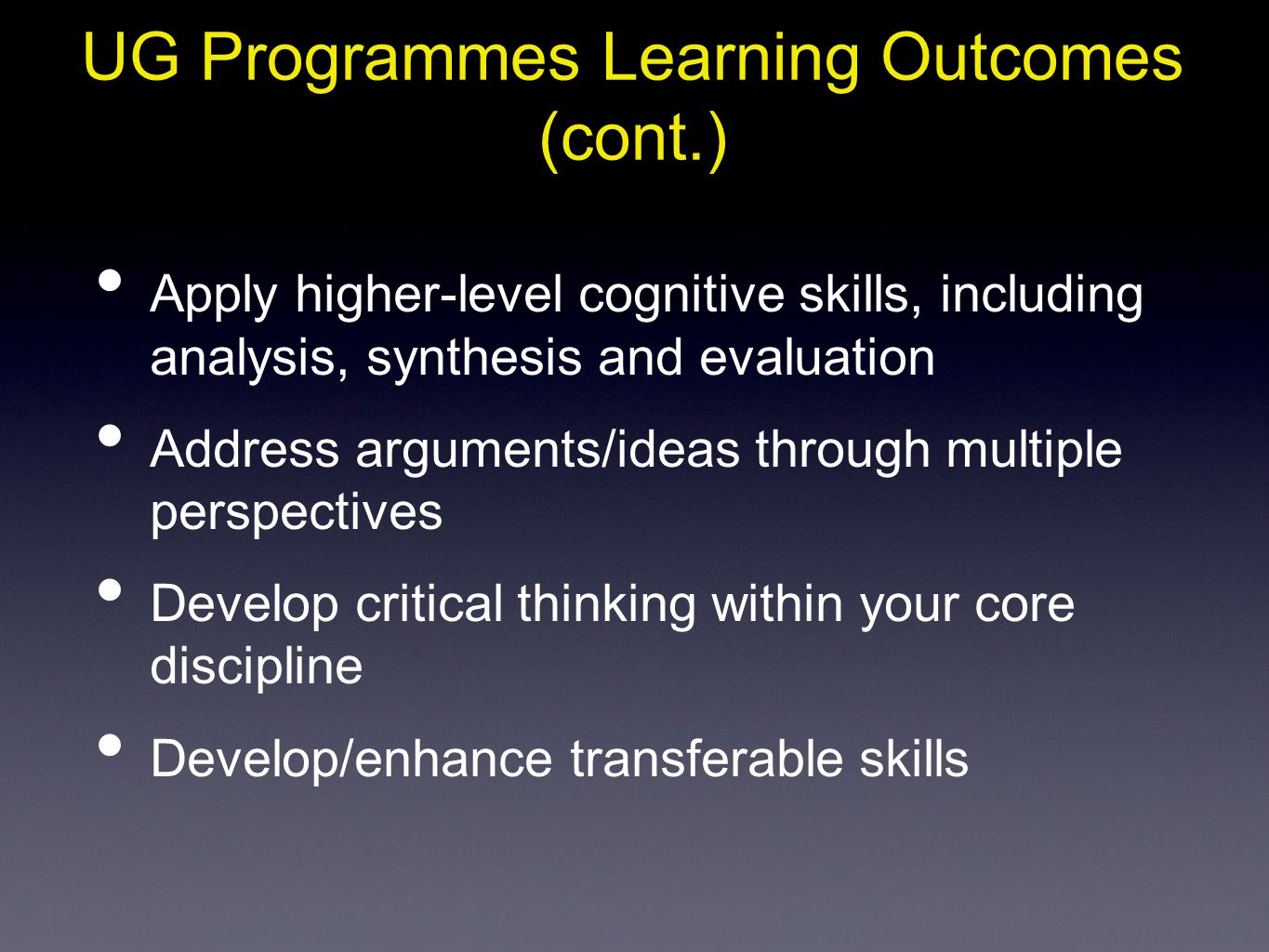 UG Programmes Learning Outcomes (cont.)