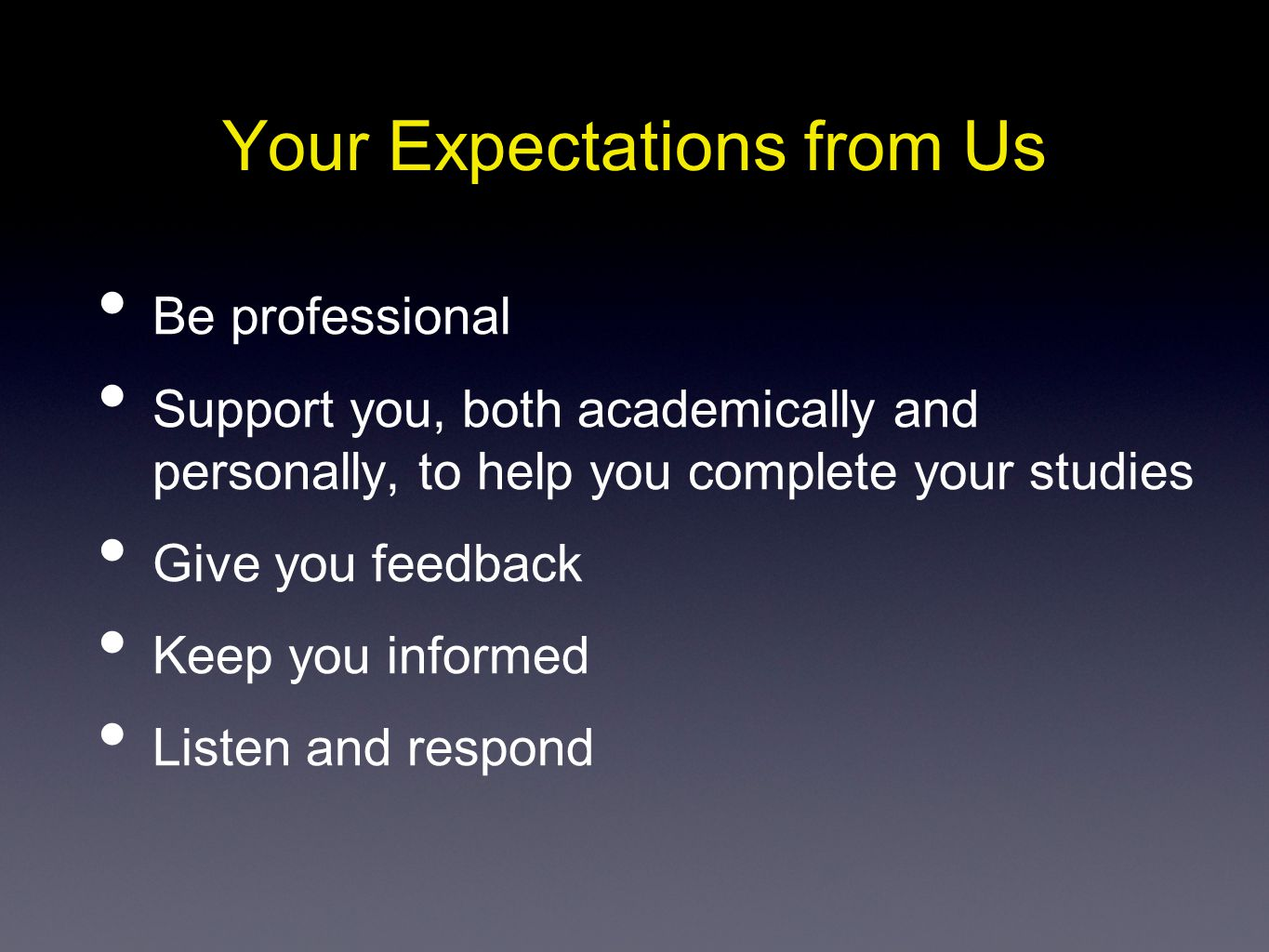 Your Expectations from Us