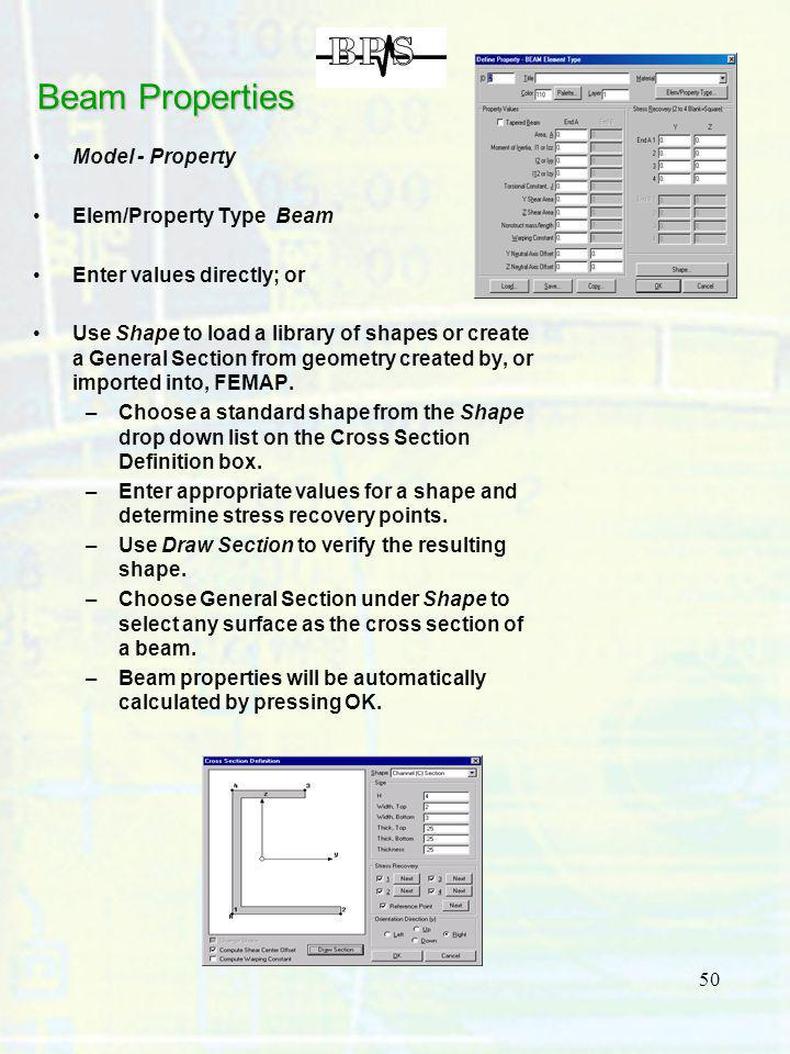 Beam Properties Model - Property Elem/Property Type Beam