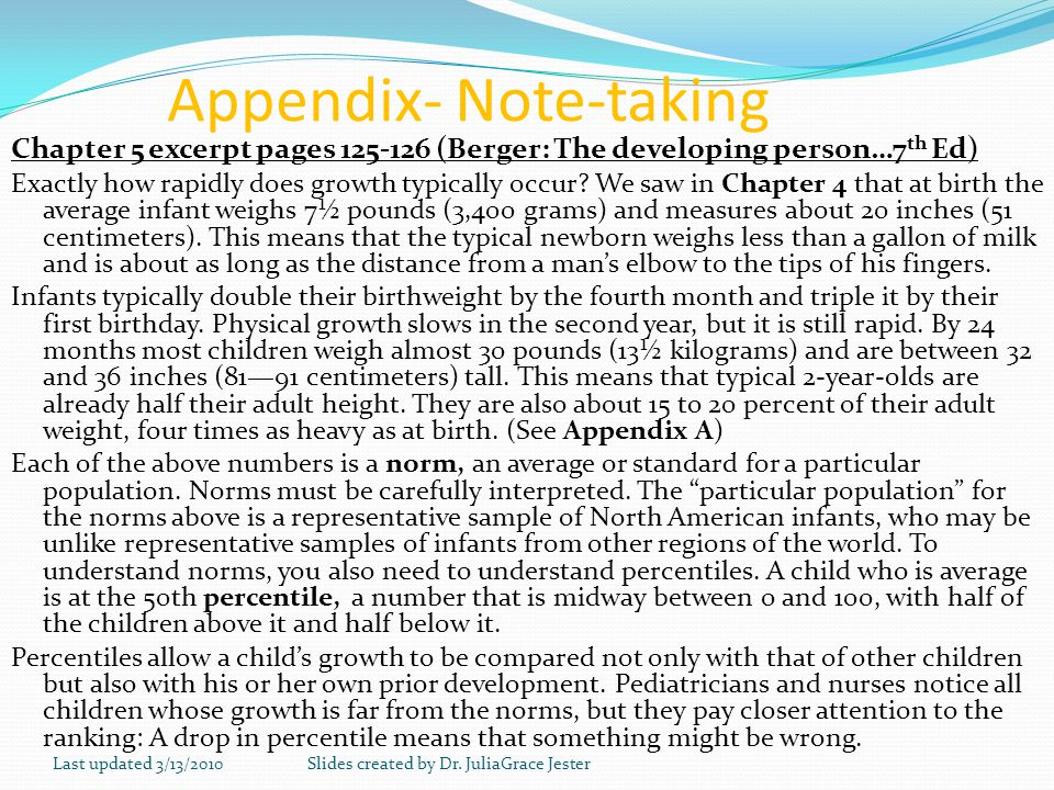 Appendix- Note-taking