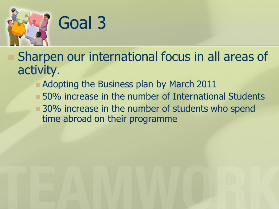Goal 3 Sharpen our international focus in all areas of activity.