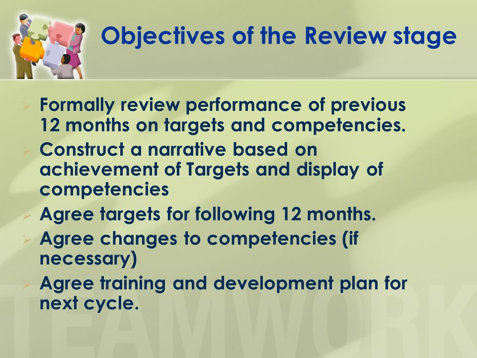 Objectives of the Review stage