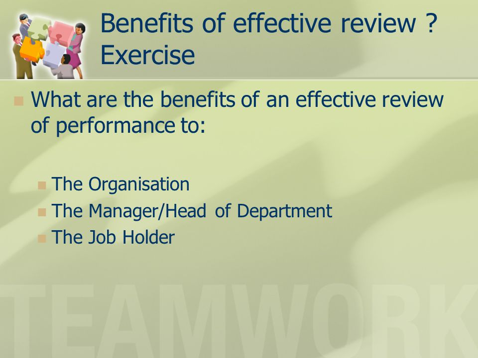 Benefits of effective review Exercise