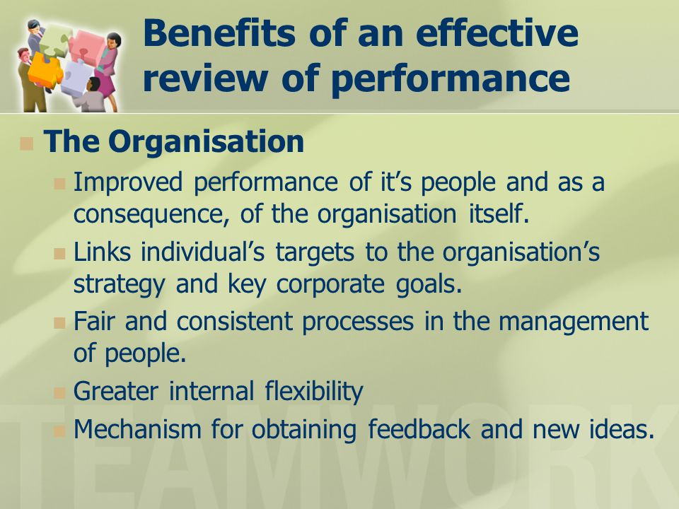 Benefits of an effective review of performance