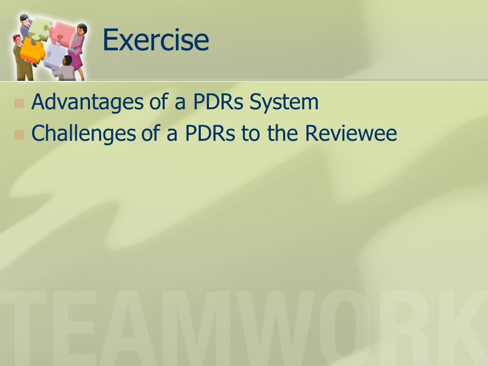 Exercise Advantages of a PDRs System