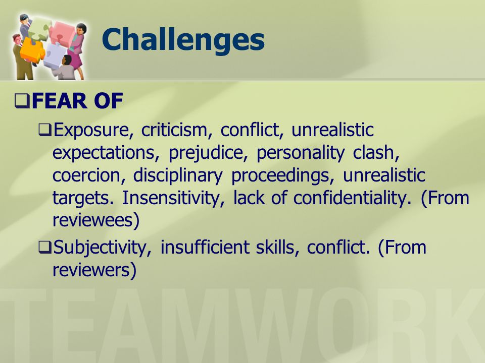 Challenges FEAR OF.