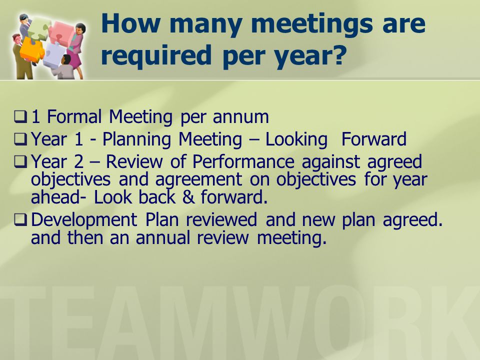 How many meetings are required per year