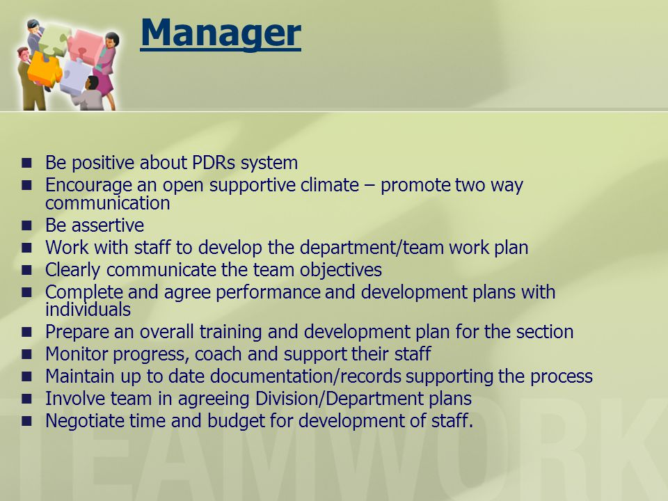 Manager Be positive about PDRs system