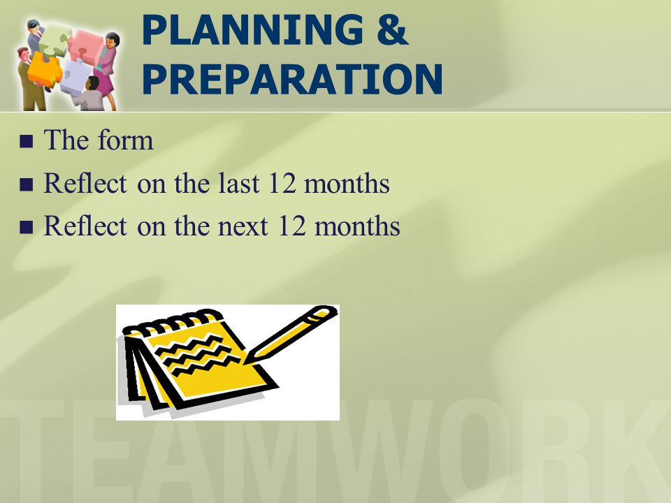 PLANNING & PREPARATION