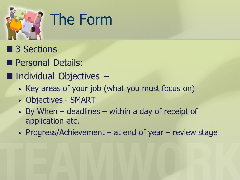 The Form 3 Sections Personal Details: Individual Objectives –