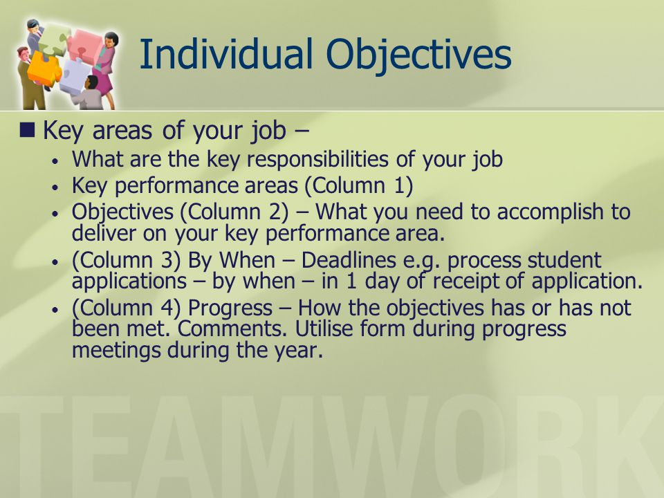 Individual Objectives