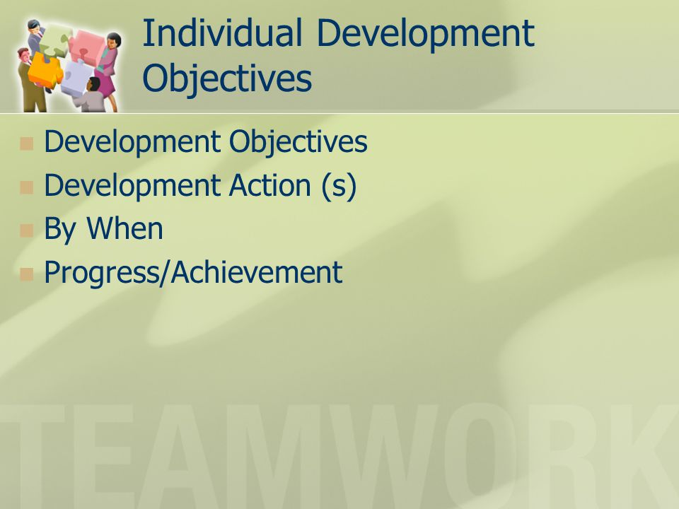 Individual Development Objectives